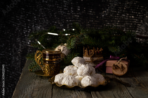 Photo National, Christmas greek cookies  kourabies and a cup of coffee