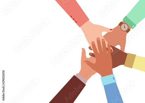 Cuadros en Lienzo Hands of diverse group of people putting together