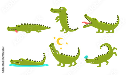 Photo Crocodile Cartoon Character In Different Poses Set, Cute Amphibian Animal with D