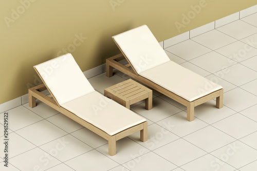 Canvas-taulu Wooden sun loungers and table