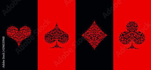 Set 4 Playing card suits icons decoration pattern diamonds, clovers, hearts, spades template on black and red background Canvas Print