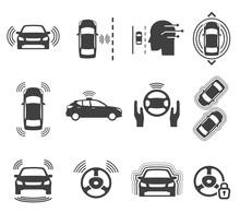 Autonomous Smart Car Glyph Icons Vector Set