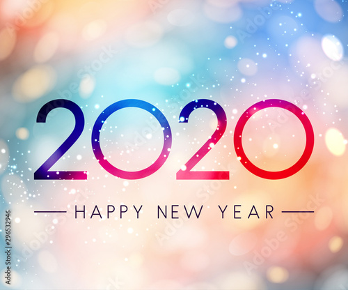 Obraz Colorful shiny Happy New Year 2020 greeting card. - fototapety do salonu