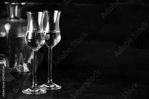 Two elegant grappa glasses with copy space Canvas Print