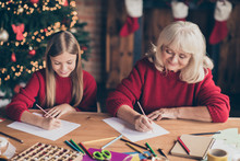Portrait Of Nice Attractive Cheerful Cheery Granny Pre-teen Grandchild Writing Wish Want List December On Table At Decorated Industrial Brick Wood Loft Style Lights Interior House