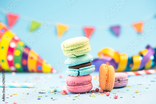 Foto auf Gartenposter Macarons Pastel Macaroons Tower, Birthday or Party Invitation Template Mockup