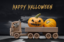 Halloween. In Wooden Toy Car, ...