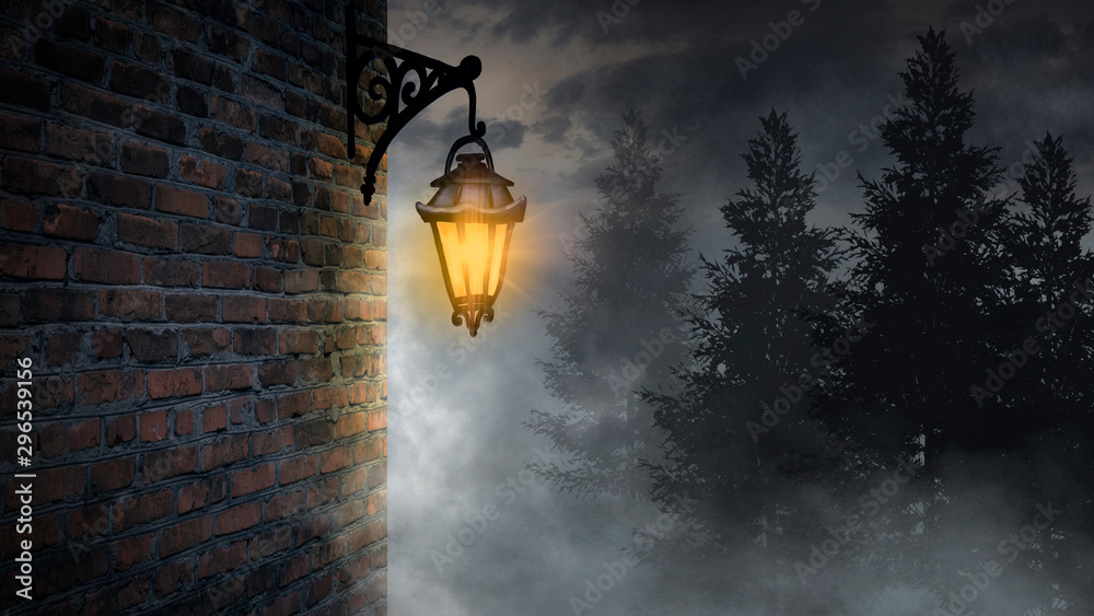 Dark street, a lantern on an old brick wall, a large moon, smoke, smog. Night scene of the old city, dark forest.