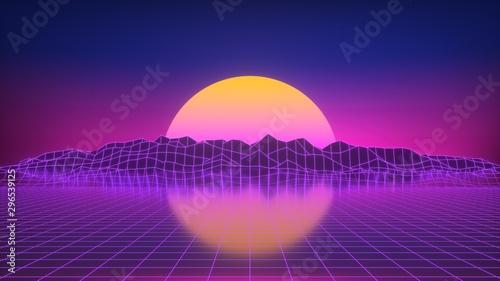 Sonnenuntergang als Neon Glow 80er Jahre Look