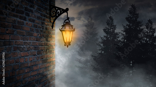 Fototapeta Dark street, a lantern on an old brick wall, a large moon, smoke, smog. Night scene of the old city, dark forest. obraz