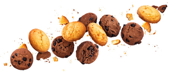 Falling broken chip cookies isolated on white background with clipping path, flying biscuits