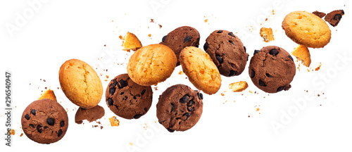 obraz lub plakat Falling broken chip cookies isolated on white background with clipping path, flying biscuits