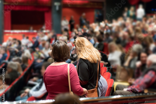 theater audience arriving and taking seats before the performance Canvas Print