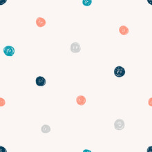 Polka Dot, Circles Hand Drawn Vector Seamless Pattern. Circular Geometrical Simple Texture. Multicolored Scribble Hand Drawn Shapes On Light Background. Minimalist Abstract Wallpaper, Background