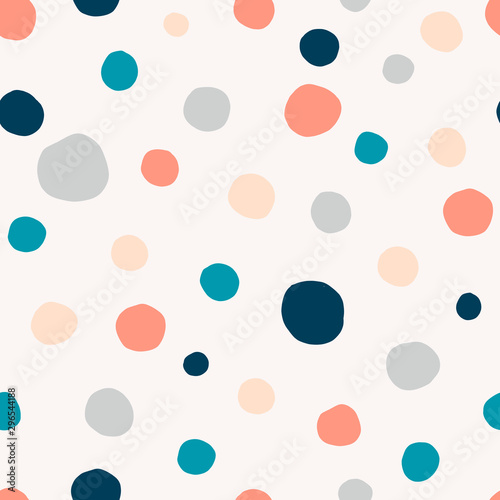 Fototapeta Polka dot, circles hand drawn vector seamless pattern. Circular geometrical simple texture. Multicolored shapes on light background. Minimalist abstract wallpaper, background textile design obraz