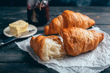 Delicious Croissants On Wooden...