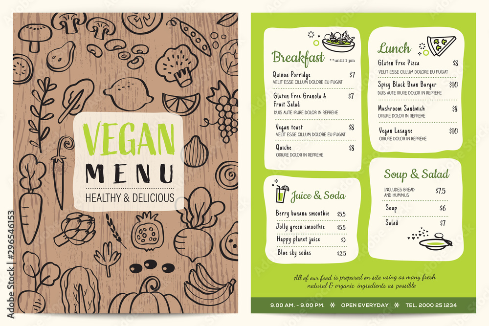 Fototapety, obrazy: Vegan restaurant menu. Green organic food board vector template. Vegetables doodle on wooden background.