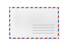 White Paper Envelope For Letter - American Air Mail Style With Blue And Red Border. Front Side Of Envelope.