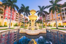 Naples, Florida, USA Town Skyline And City Plaza