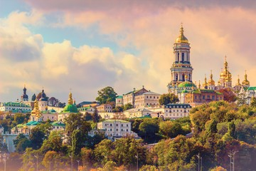 Fototapeta Miasta Kiev, Ukraine. Cupolas of Pechersk Lavra Monastery and river Dniepr panoramic city