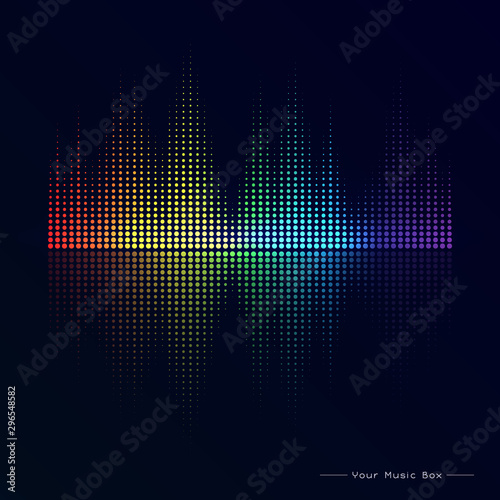 Fototapety, obrazy: Abstract image of musical equalizer.Rainbow equalizer on black background. Sound Wave. Audio equalizer technology. Detailed vector bokeh.
