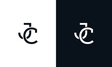 Minimalist Line Art Letter JC Logo. This Logo Icon Incorporate With Two Letter In The Creative Way.