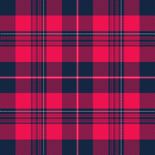 Tartan Pattern In Blue And Pink.