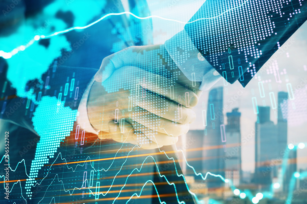 Fototapety, obrazy: Double exposure of financial chart and world map on cityscape background with two businessmen handshake. Concept of international investment