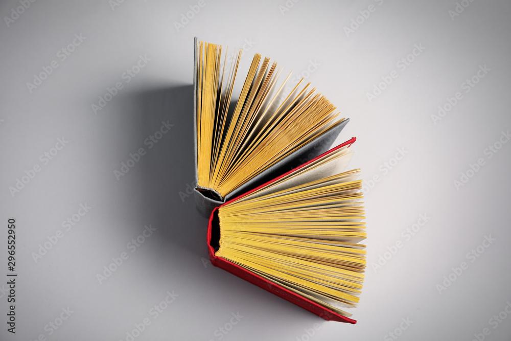 Fototapety, obrazy: Hardcover books on grey background, flat lay