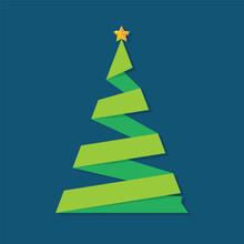Christmas Tree Ribbon Greeting Card