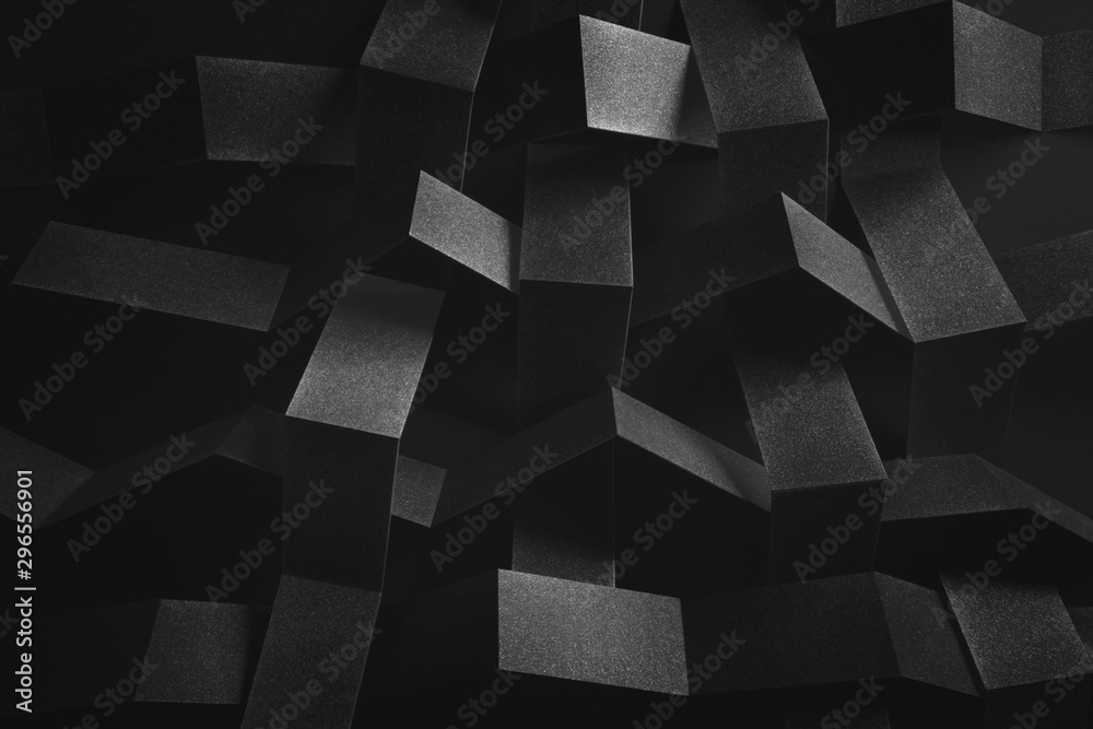 Fototapety, obrazy: Abstract composition with tangled elements, black background