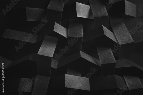 Abstract composition with tangled elements, black background - 296556901