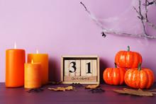 Halloween Pumpkins With Wooden...