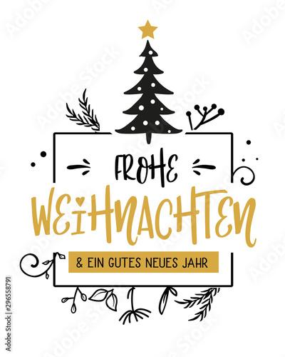 Frohe Weihnachten Kalligraphie. Grußkarte mit Weihnachtsbaum Fototapet