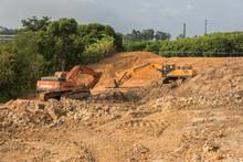 2 Large Excavators In Earthwork Construction