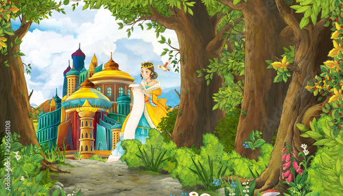 Fotografie, Obraz  Cartoon nature scene with beautiful girl princess and castle - illustration for