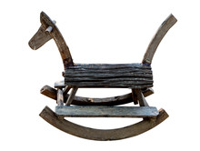 Vintage Rocking Horse Made Of Wood Isolated On White Background.