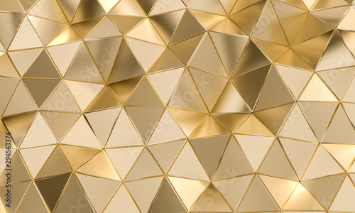 Foto geometric pattern with triangular shapes in gold-colored metal.