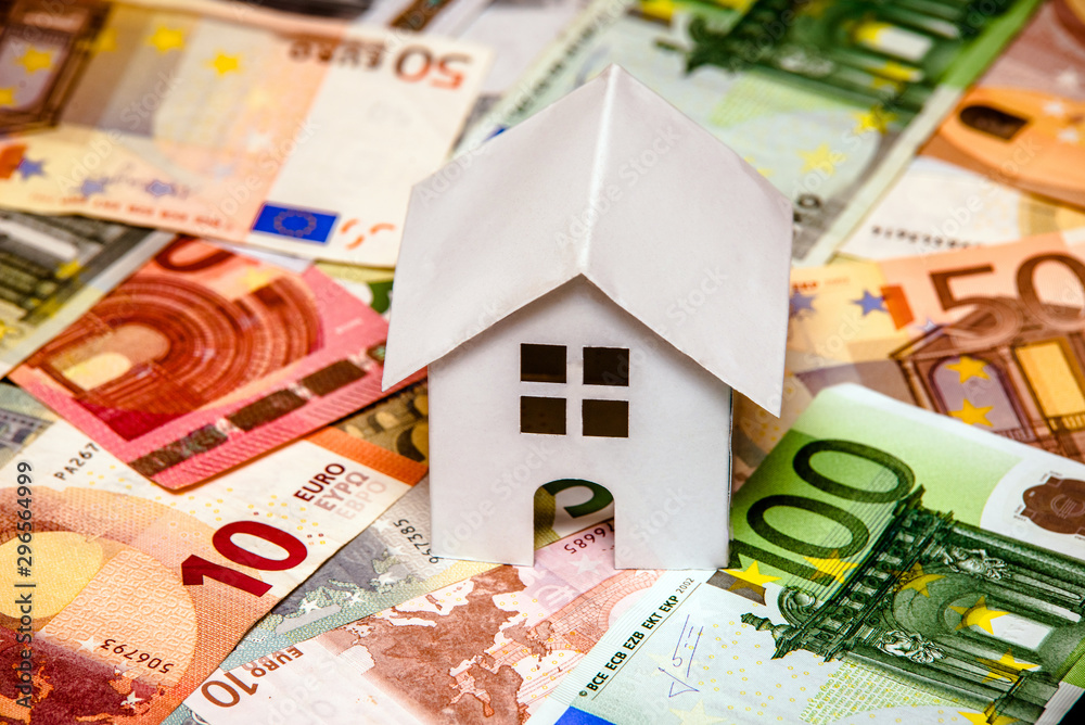 Fototapety, obrazy: The symbol of the house stands on the background of the Euro