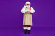 canvas print picture - Full length body size view of his he nice cheery cheerful bearded thick fat Santa giving offering you sharing espresso cup isolated over bright vivid shine vibrant violet lilac background