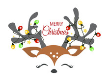 Christmas Reindeer Face With Decorative Lights Vector Cartoon Illustration.