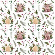 Christmas Seamless Pattern With Two Christmas Mouse And Christmas Decor
