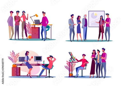 Fotografía  Corporate meeting illustration set