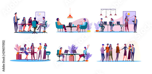 Fotomural Corporate discussion illustration set