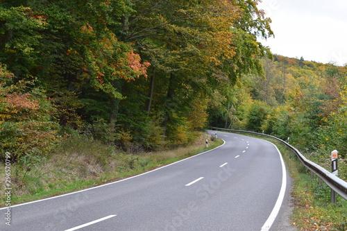 Obraz na plátně herbstliche Straße in der Eifel