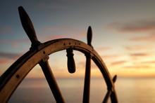 Vintage Ship Rudder In Sunset Light.