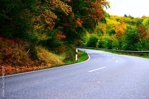 Fototapeta herbstliche Straße in der Eifel
