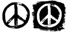 Peace Sign Grunge Black White Tee Graffiti Doodlie Sketch Dirty Style Symbol, Brush Stroke Ink Watercolor Monochrome For T Shirt Design Print Posters Hand Drawn Vector Illustration.