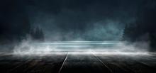 Background Of Empty Dark Scene With Wooden Old Floor. Neon Light Smoke. Dark Abstract Background