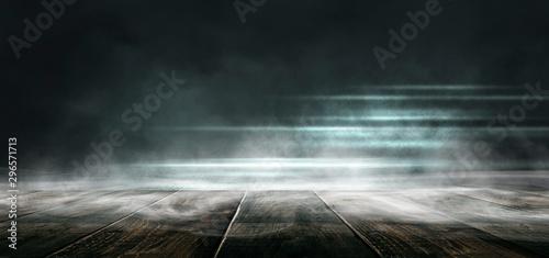 Fotomural  Background of empty dark scene with wooden old floor